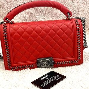 CHANEL RED QUILTED CALFSKIN BOY BAG